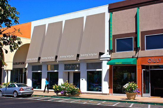 Angular Awning In Sunbrella Fabric For Sony Style Retail Store Stanford Shopping Center Palo